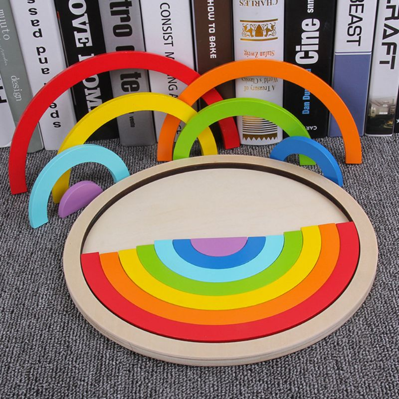 Colorful Wooden Blocks Puzzle Toys Children Kids Creative Rainbow Assembling Building Block Boys Girls Gifts
