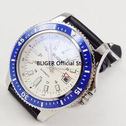 Classic 44mm BLIGER biała tarcza niebieski ceramiczny obrotowy Bezel stałe SS przypadku świecące znaki Miyota mechanizm automatyczny zegarek męski