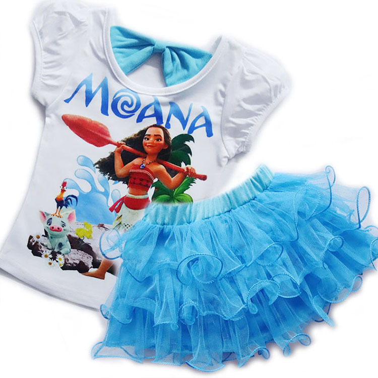 Toddler Girls Clothes Sets Kids Moana Costume Birthday Party Clothing Tops+Dress 2Pcs Outfit Cartoon Print Vaiana Dress For Girl