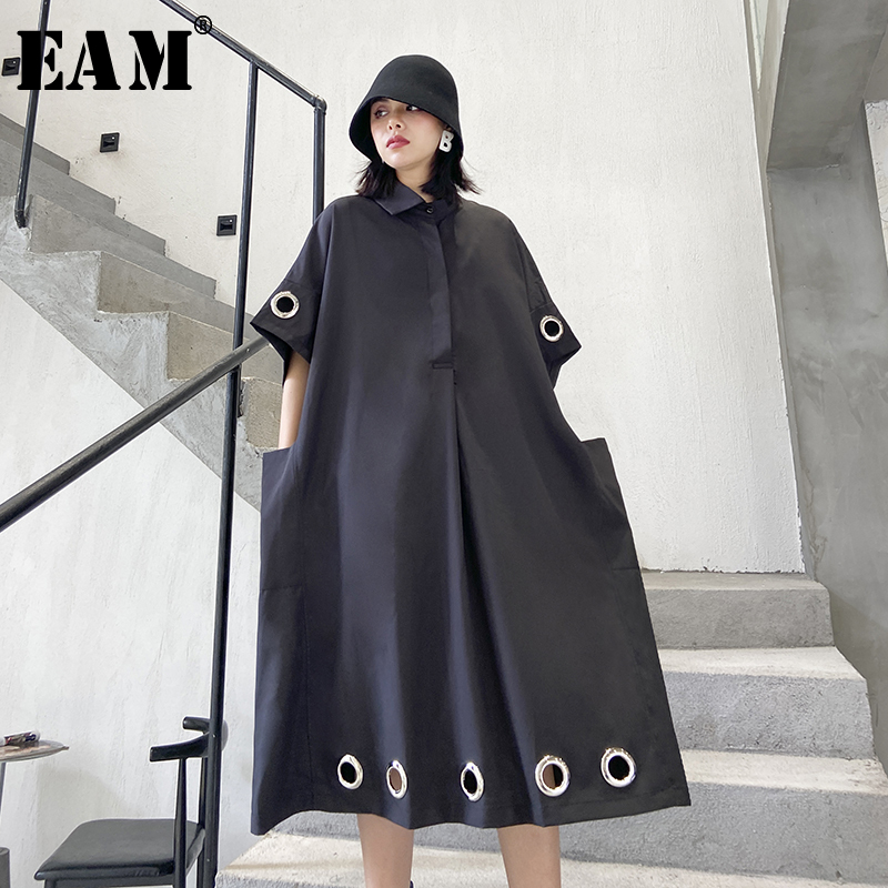 [EAM] Women Black Hollow Out Big Size Shirt Dress New Lapel Three-quarter Sleeve Loose Fit Fashion Tide Spring Autumn 2020 1T766