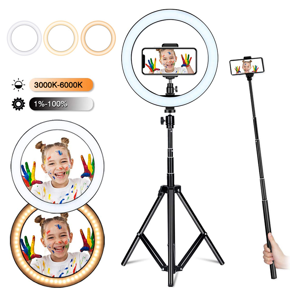 phone Selfie 26CM Ring Light Bluetooth Photo Led Phone Lamp Photography Lighting Tripod Stand TikTok Youtube Live Makeup Video