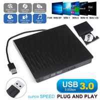 Slim External CD DVD Drive Optical Drive USB 3.0 DVD/CD ROM Player DVD-RW Burner Writer Reader Recorder for Laptop Windows PC