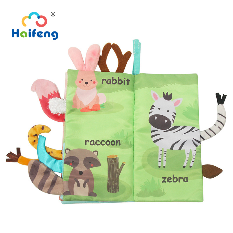 Soft Cloth Book 3D Not Fade Animal Tail Cloth Books Infant Newborn Soft Fabric Cloth Book Learning Educational For Baby 3 Month