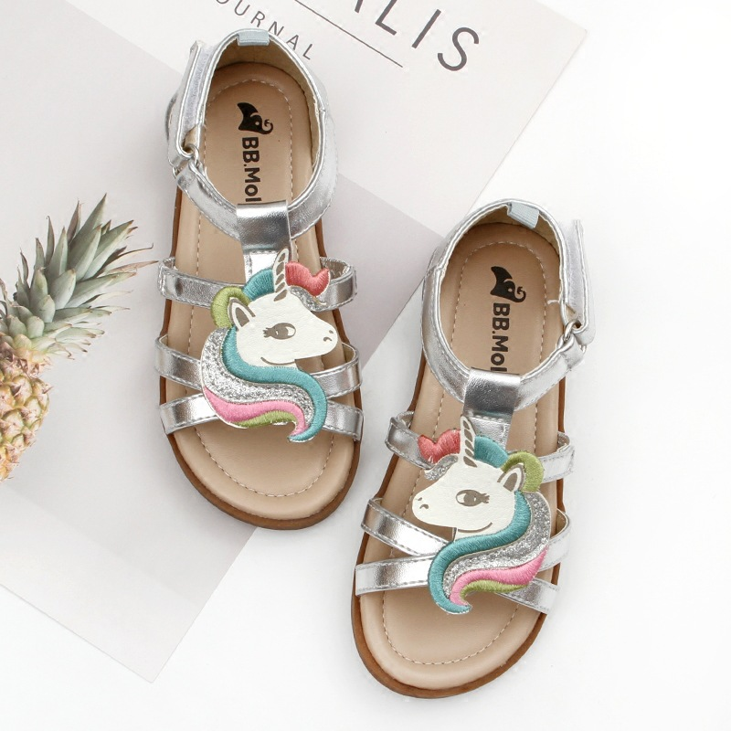 Little Girls Unicorn Sandals Summer 2019 Open-toed Beach Jelly Shoes Kids Gladiator Sandals Unicorn Slippers Infant Baby Child