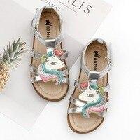 Petites filles licorne sandales été 2019 à bout ouvert plage gelée chaussures enfants gladiateur sandales licorne pantoufles infantile bébé enfant