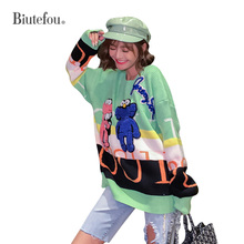 2019 Autumn fashion cartoon patch designs sweaters women knitted