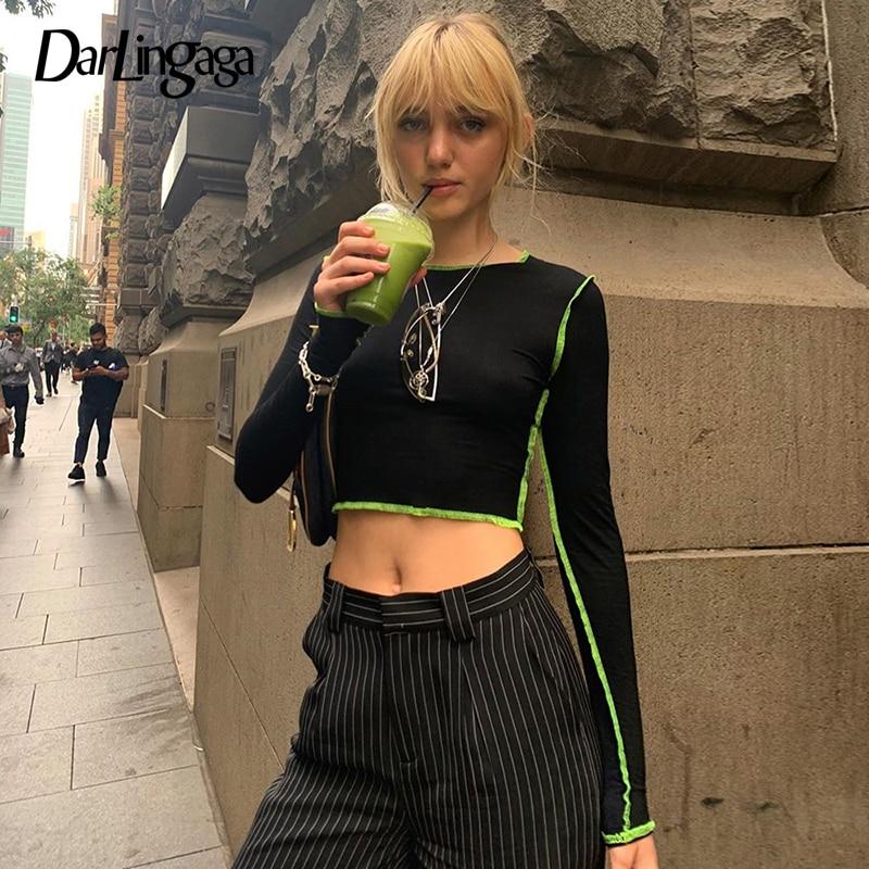 Darlingaga Neon Stripe Patchwork Black Tshirt Long Sleeve Casuall Crop Tops Tees 2020 Spring T-shirts For Women Harajuku Clothes