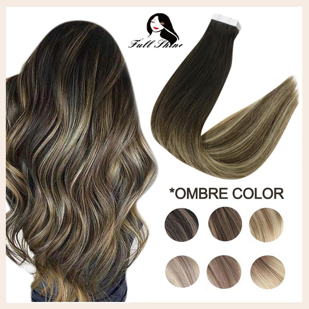 100% натуральные волосы Remy для наращивания на ленте, 100% натуральные волосы для наращивания, незаметные бесшовные Omber блонд цвет Клей для салон...