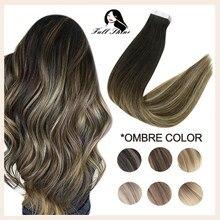 Fita completa do brilho em extensões de cabelo 100% remy natural da pele do cabelo humano trama invisiable sem emenda omber cor loira cola para o salão de beleza