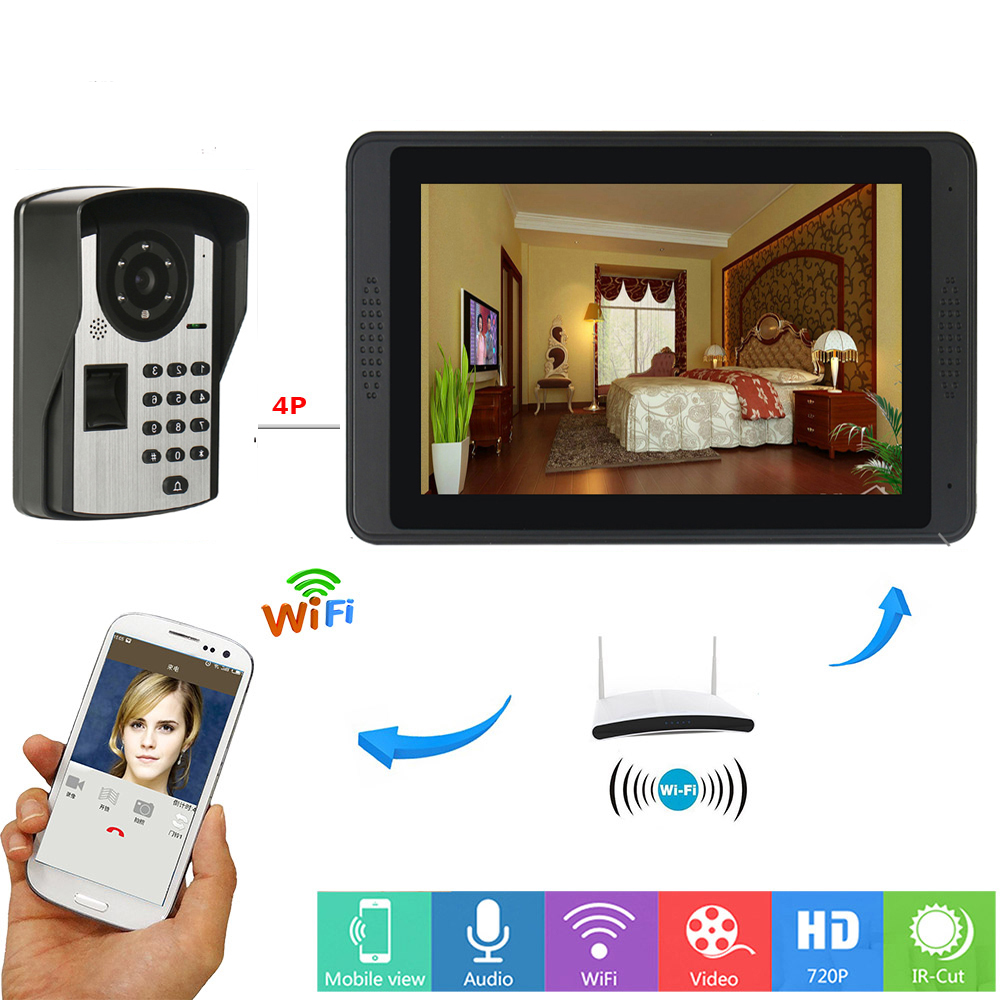 Yobang interphone vidéo de sécurité 7 pouces moniteur Wifi sans fil vidéo porte téléphone sonnette interphone RFID système de caméra d'empreintes digitales