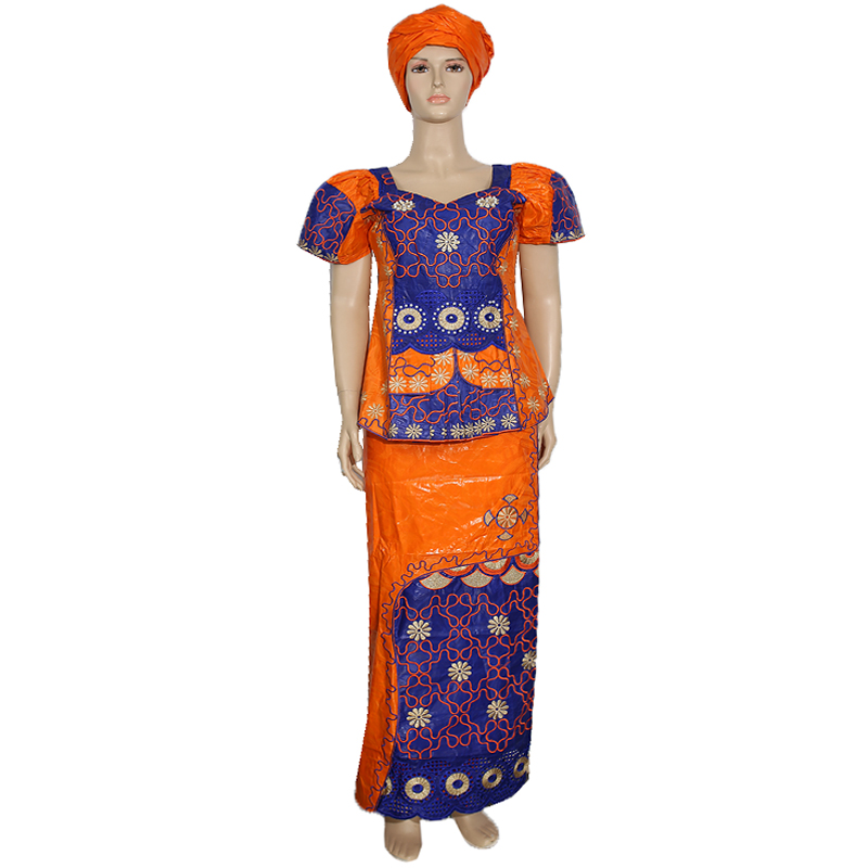 H&D Robe Africaine Femme 2020 Bazin Riche Dashiki Skirt Suit Ladies Clothes South Africa Women Tops Skirt Set Nigerian Headtie