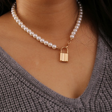 Padlock Pendant Charm Necklace Simulated Pearl Chain Short Choker Necklace for Women Wedding Party Statement Necklace Jewelry yikalaisi 2017 long multilayer pearl necklace natural freshwater pearl choker charm accessories statement necklace for women