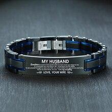 Vnox ZU MEINEM MANN Armbänder für Männer Top Qualität Schwarz Edelstahl Herren Armband Individuelles Valentinstag Geschenk für Ihn