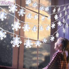 FENGRISE Snowflake Fairy Light Christmas Decoration For Tree Lights String Xmas Ornament Cristmas Home