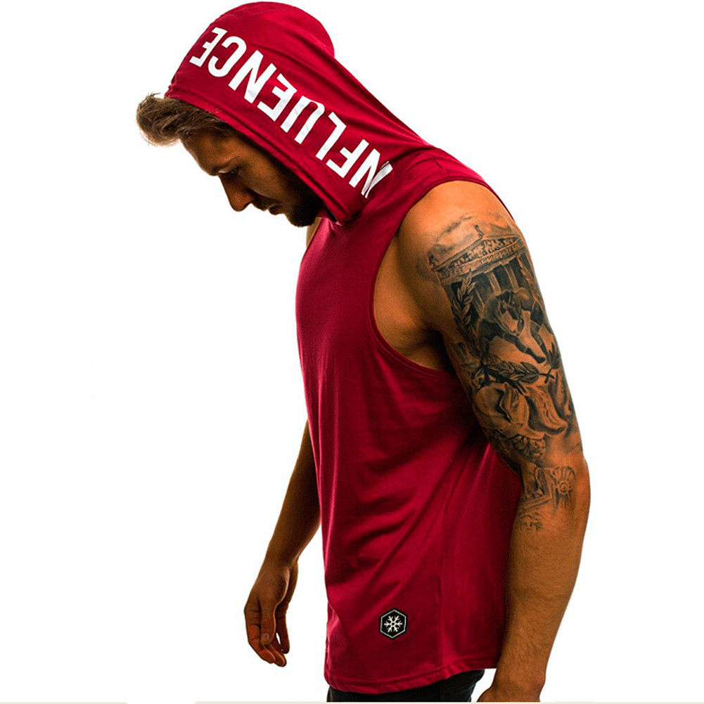 Men Hoodies Men Tank Top Sleeveless Muscle Gym Sport Slim Vest Bodybuilding Hooded Hip Hop Streetwear Elastic Workout Tank Top