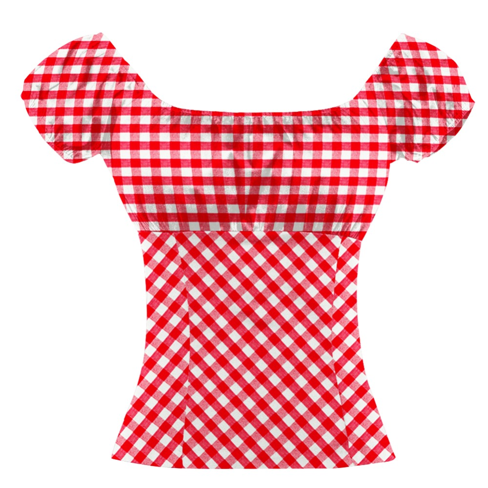 Retro 70s Red Checked Tops Summer Casual Blusas Ruffled Blouse Bohemian Vintage Plaid Shirt Cotton Top Peasant Top Plus Size