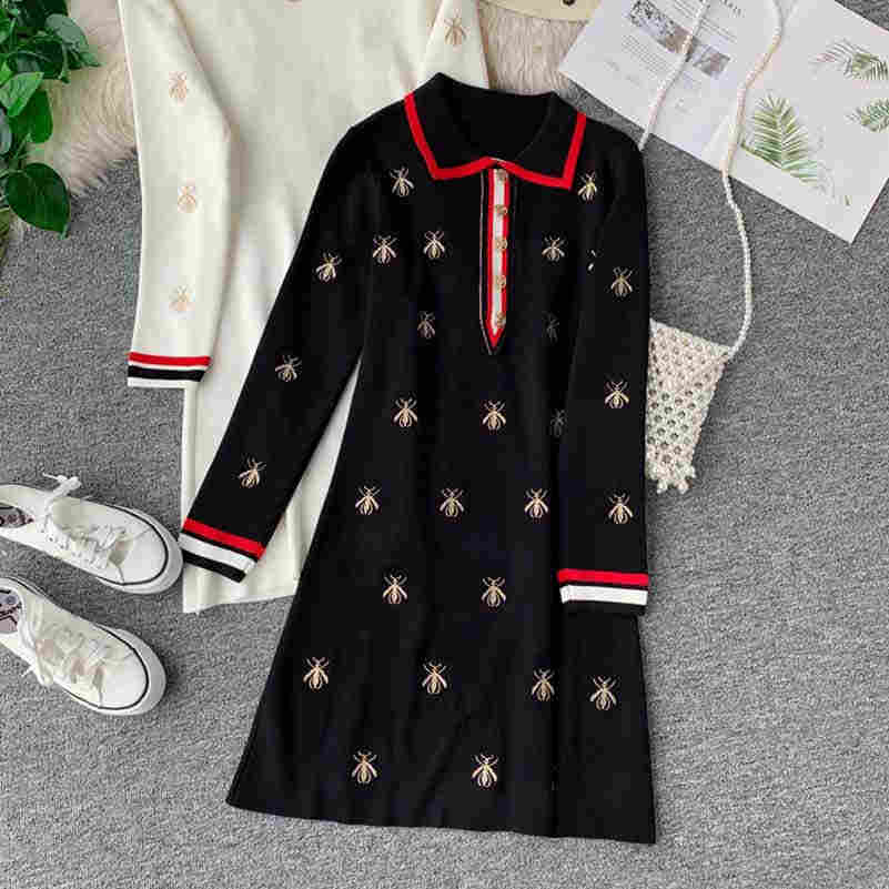 NiceMix Autumn Casual Dresses Women A-line Dress Embroidery Bees Knitted Long Sleeve Elegant Dress Women Clothing Robe Femme