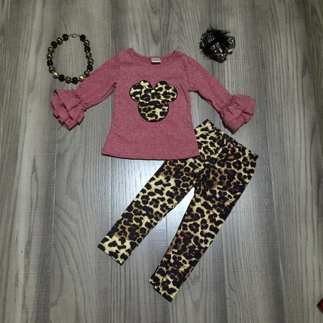 Lente/winter baby meisjes kinderen kleding set outfits muis luipaard melk zijde dusty roze ruches broek katoen match accessoires