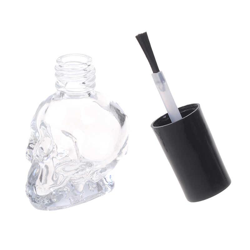 Cráneo de moda de 10ml de cristal transparente de esmalte de uñas vacías, botella con cepillo rellenable, pequeños envases de maquillaje de viaje cosméticos