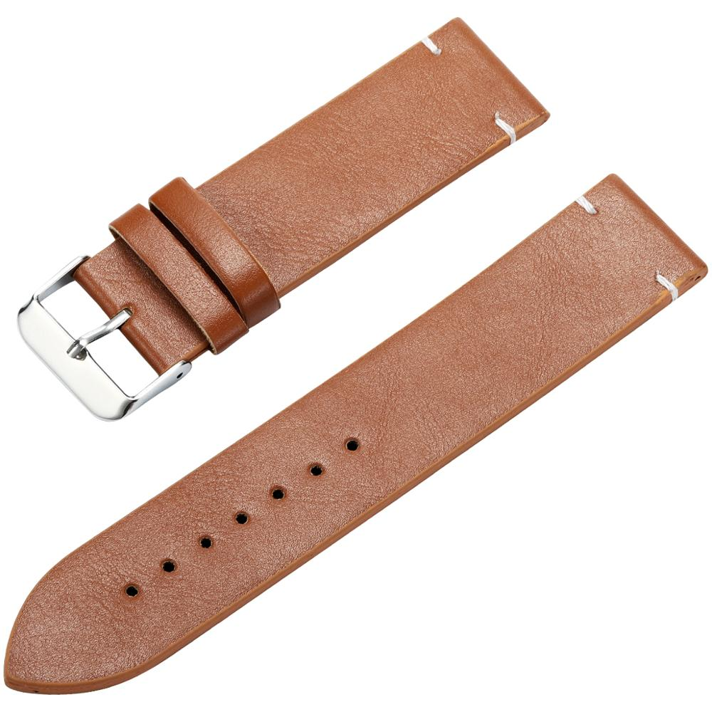 DOM 18mm 20mm 22mm PU Leather Watchbands Brown Black Yellow  Men Watchbands High Quality Replace Watch Strap Belt