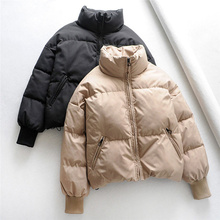 Fashion Women Solid Stand Collar Winter Down Jacket Preppy Style Thick Zip Pockets Oversize Ladies Chic Parka Coats Female
