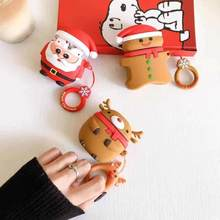 Newest Merry Christmas Gift Soft Silicone Doll Case For Apple Airpods Case Wireless Bluetooth Earphone Cover Coque with Hooks(China)