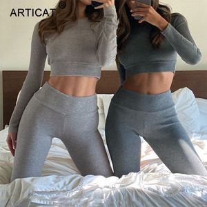 Articat Rib Bodycon Two Pieces Sets Women Long Sleeve Crop Top Long Trousers Suit Autumn Casual Sporty Gray Fitness Tracksuit
