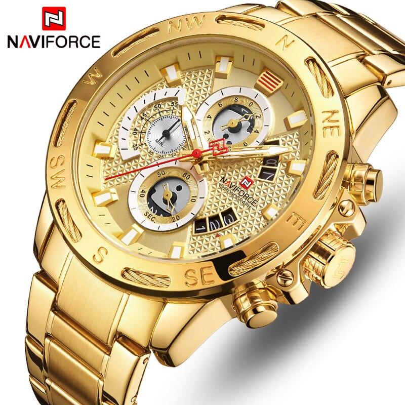 Люксовый бренд NAVIFORCE мужские спортивные часы золотые кварцевые часы из полной стали Мужские часы с датой недели водонепроницаемые военные часы