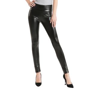 Image 2 - 2020 Hot Winter Leggings Thickening Black Leather Leggings Skinny Pants Warm Womens Trousers Boots Pants For Women Spandex 10%