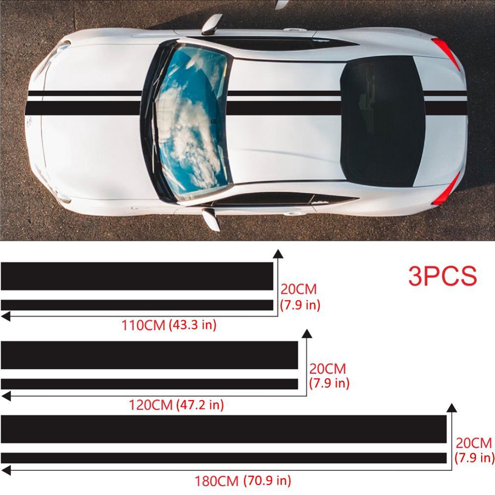 3Pcs Long Stripe Racing Car Stickers Auto Stylish Decals Vinyl DIY Car Racing Sports Stickers Auto Decoration Accessories