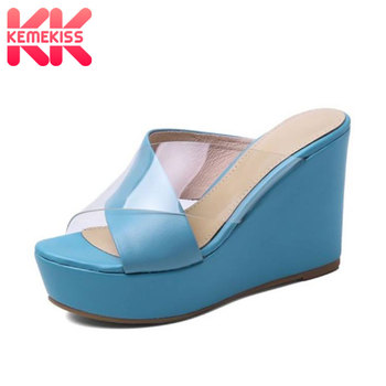 KemeKiss Genuine Leather Sandals Wedges Summer Women Shoes Thick Bottom Shoes Clear Platform Party Casual Lady Shoes Size 34-39