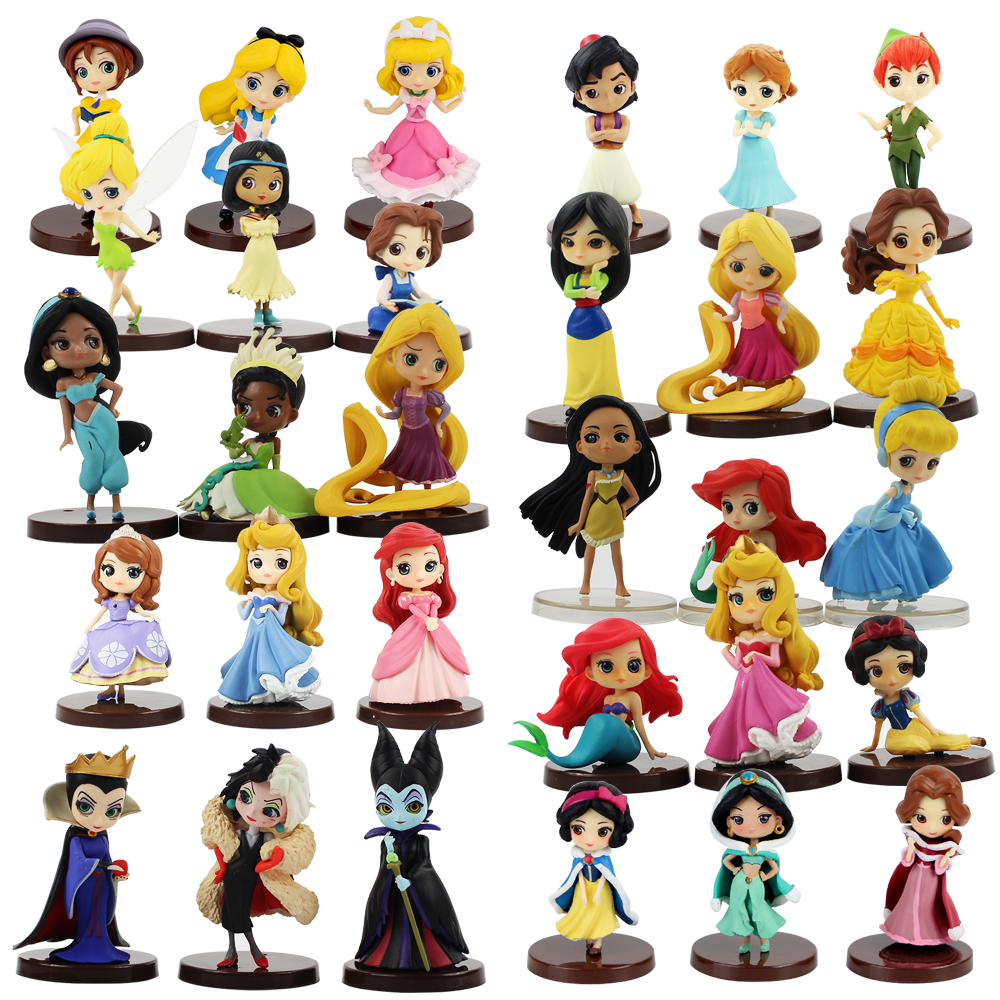 Q Posket Characters Princess Snow White Merida Belle Jessie  Cinderella Jane Boo PVC Figures Toys Qposket Sophia Dolls