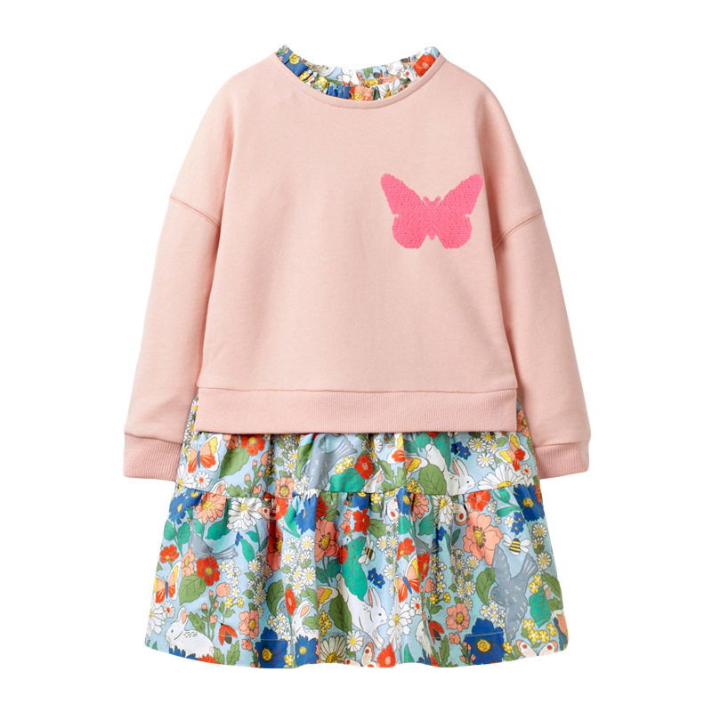 Little maven Girls long sleeve dress Butterfly Sequined Baby Girls Princess Costume for Christmas Kids Clothes Children Dress 5
