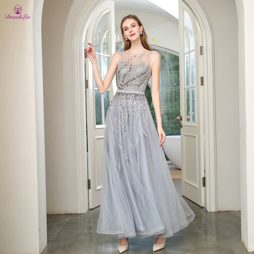 DressbLee Dubai Style Silver Prom Dress Full Hand-Beaded Long Prom Dresses Sleeveless Transparent Formal Party Gown