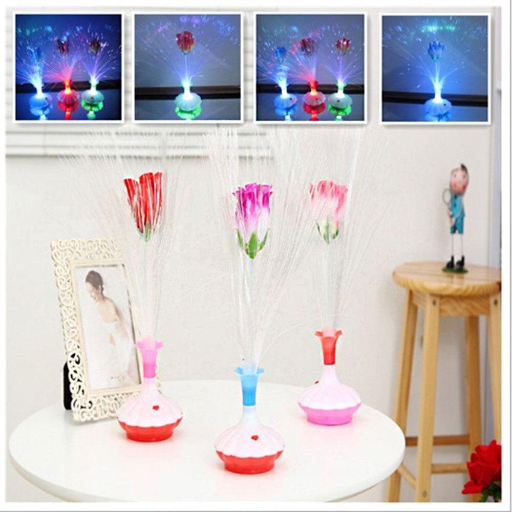 Светодиодный светильник из оптического волокна, ваза для цветов, ночник, декоративный красочный светильник, светильник для рождественской вечеринки, коммерческий светильник, лампа для двора