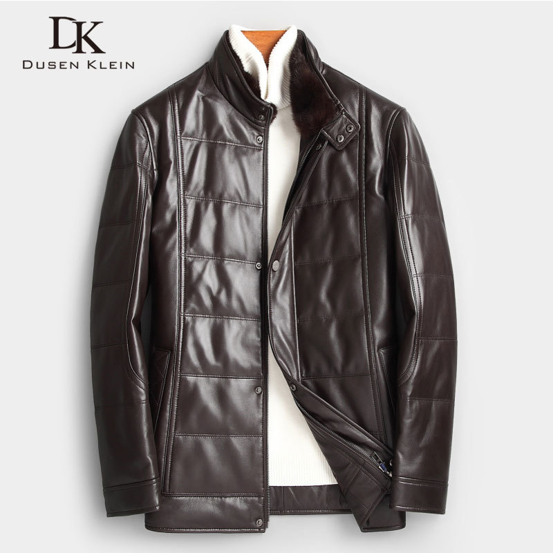 Men Genuine Leather Down Jacket Winter Warm Short Coat Mink Fur Collar Outerwear Sheepskin  New Designer Brand Luxury X89806