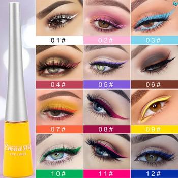 12-color matte Cat eye Makeup Waterproof Neon Colorful Liquid Eyeliner Pen Make Up Comestics Long-lasting Liner Pencil Makeup недорого