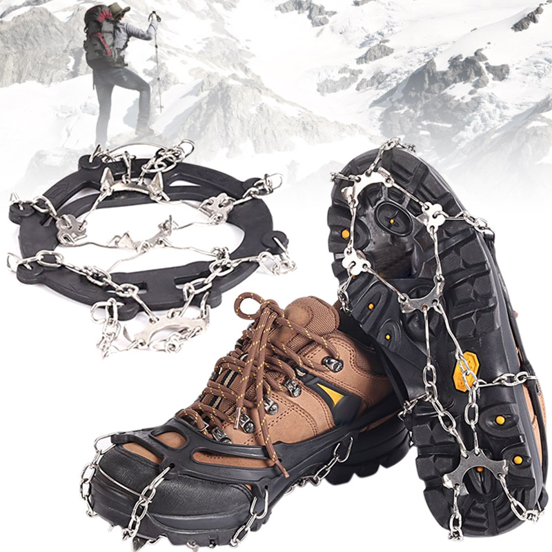 Newly Snow Grip Cleat Over Shoe Boot Cleat Rubber Spikes Anti Slip 10 Steel Studs Crampons Footwear