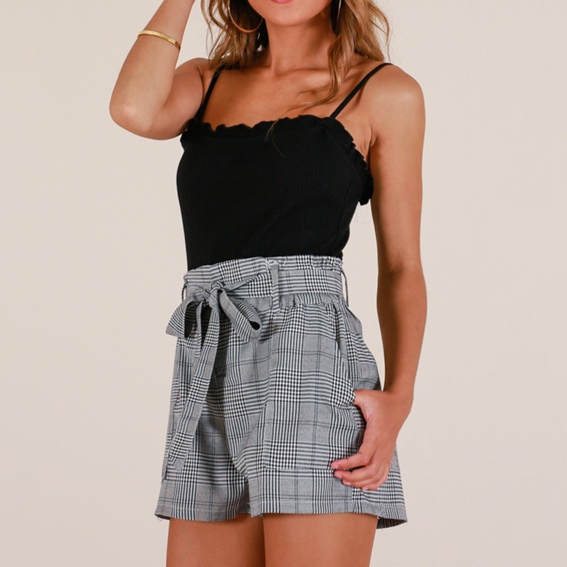 Summer High Waist Straight Leg Shorts Lady Elastic Waist Office Shorts New High Quality Women Casual Lace Up Waist Plaid Shorts