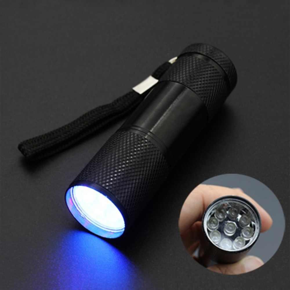 휴대용 UV 손전등 토치 라이트 울트라 바이올렛 라이트 블랙 라이트 UV 램프 배터리 마커 검사기 탐지