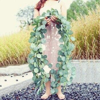 Flores artificiales de Eucalyptus hoja de mimbre DIY corona accesorio para la decoración del coche de la boda Garland Scrapbooking de seda. x