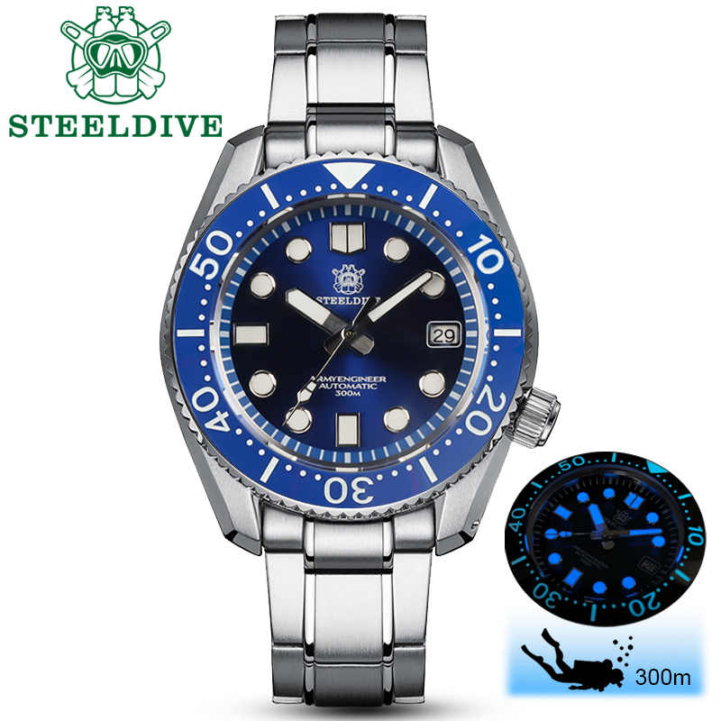 Steeldive 1968 dive watch 300mすべて1ケース316L鋼自動機械式潜水NH35男C3スーパー発光