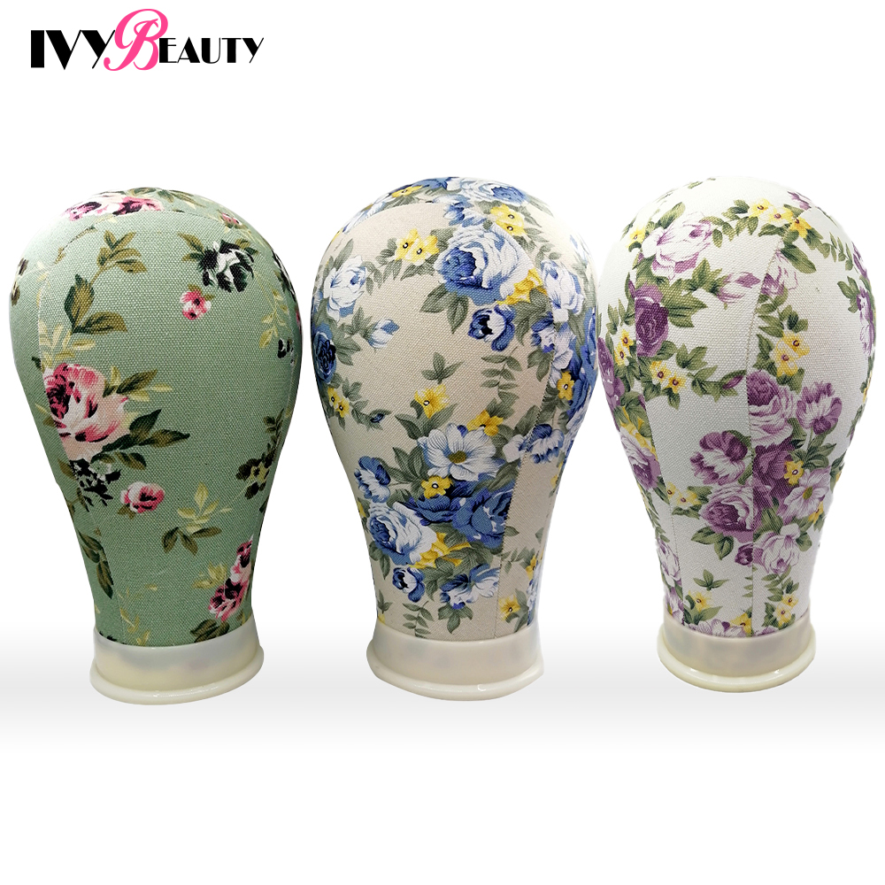 Flower Canvas <font><b>Block</b></font> Mannequin Wig Head With Stand Lace Wig Holder For Making Wigs Styling <font><b>Hat</b></font> Display Manikin Maniquin Head image