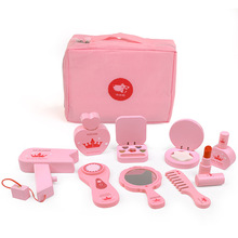 Children's Wooden Beauty Toys Makeup Salon Toys Simulation Play House Dresser Girl Princess Cosmetics Bag Set Gift Hot Sale