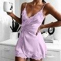 2020 Для Женщин Шелковое Платье на бретельках женское белье, сексуальная ночная сорочка с длинным рукавом твердых атласная кружевная чашка v-...