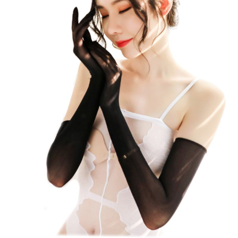 Women Sexy Seamless Ultra-Thin Long Gloves Anti-UV Sheer Over Elbow Club Mittens LX9E
