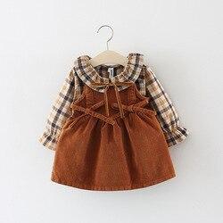 Клетчатая рубашка с длинным рукавом для маленьких девочек + вельветовое платье из двух частей на лямках осень-весна детское праздничное пла...