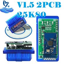 2020 Mini ELM327 V1.5 PIC18F25K80 OBD2 Scanner ELM 327 ELM 1.5 Bluetooth OBDII Ferramenta de Diagnóstico de Digitalização 327 V1.5 25K80 Chip