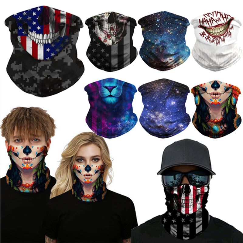 3D Motorcycle Tactical Cosplay Masks Neck Buffs Bandana Halloween Neck Gaiter Outdoors Magic Tube Scarfs Joker Shield