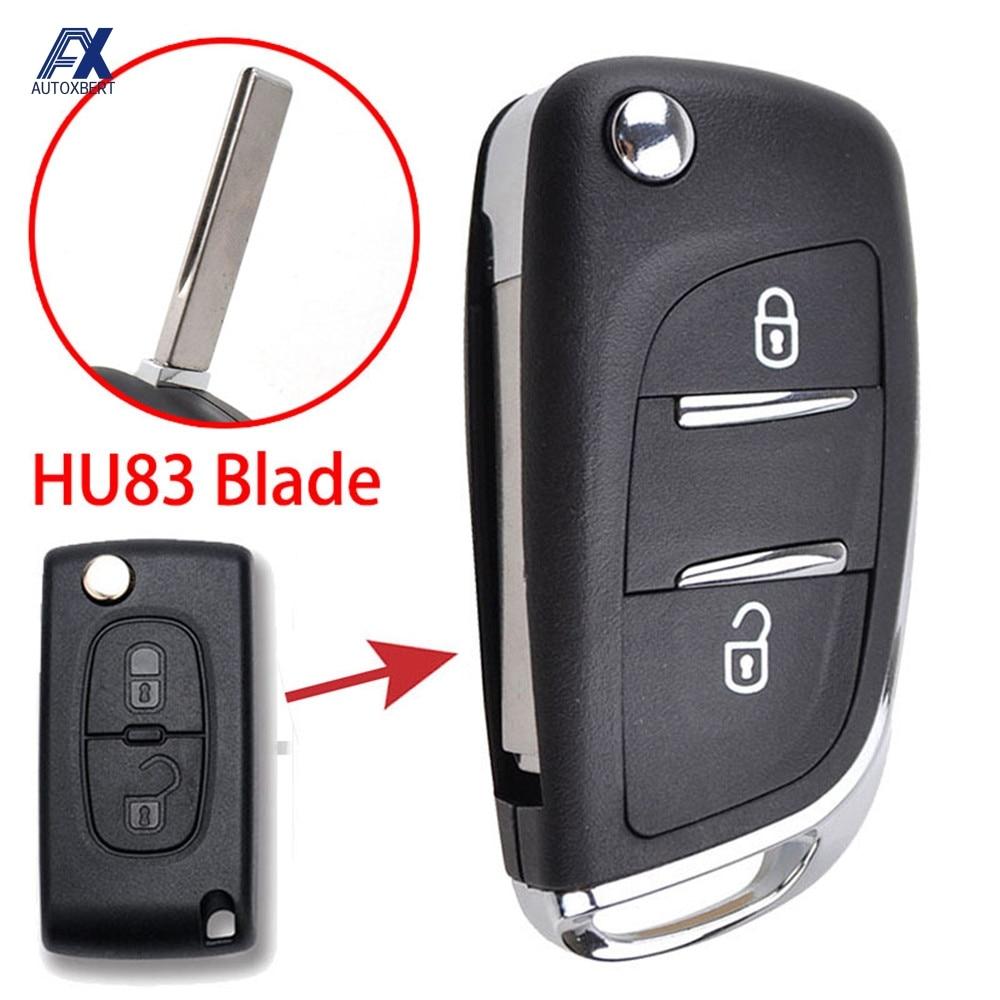 CE0536 HU83 carcasa de la llave a distancia del coche para Peugeot 308 207 socio experto para Citroen C2 C3 C4 Picasso llave de reemplazo Fob caso